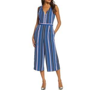 NWT 1901 Stripe Crop Jumpsuit in Blue Combo